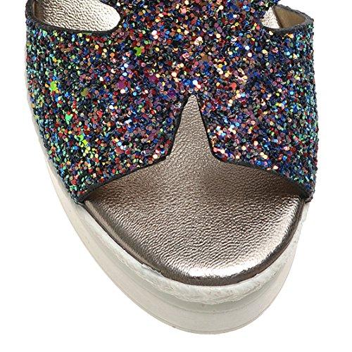 Compensée Haut Brillant Pantoufle Été Sandales Femme Chaussure Femme AIYOUMEI Talon Plateforme Noir SxwBq6nv