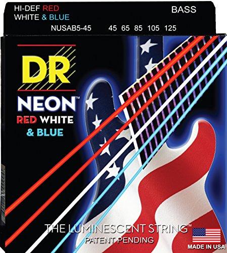 DR Strings NUSAB5-45 Coated Nickel 5-String Bass Guitar Strings, Medium, 45-125, Neon (Coated Nickel Bass)