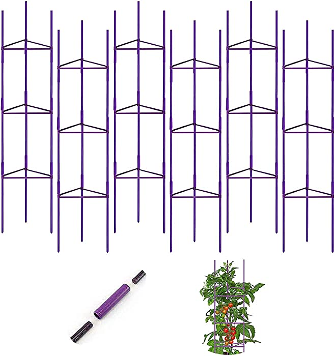 G-LEAF 6 Pack Tomato Garden Cages Plant Cages Plant Stakes Supports for Vertical Climbing Plants, with Plant Clips, Plant Ties