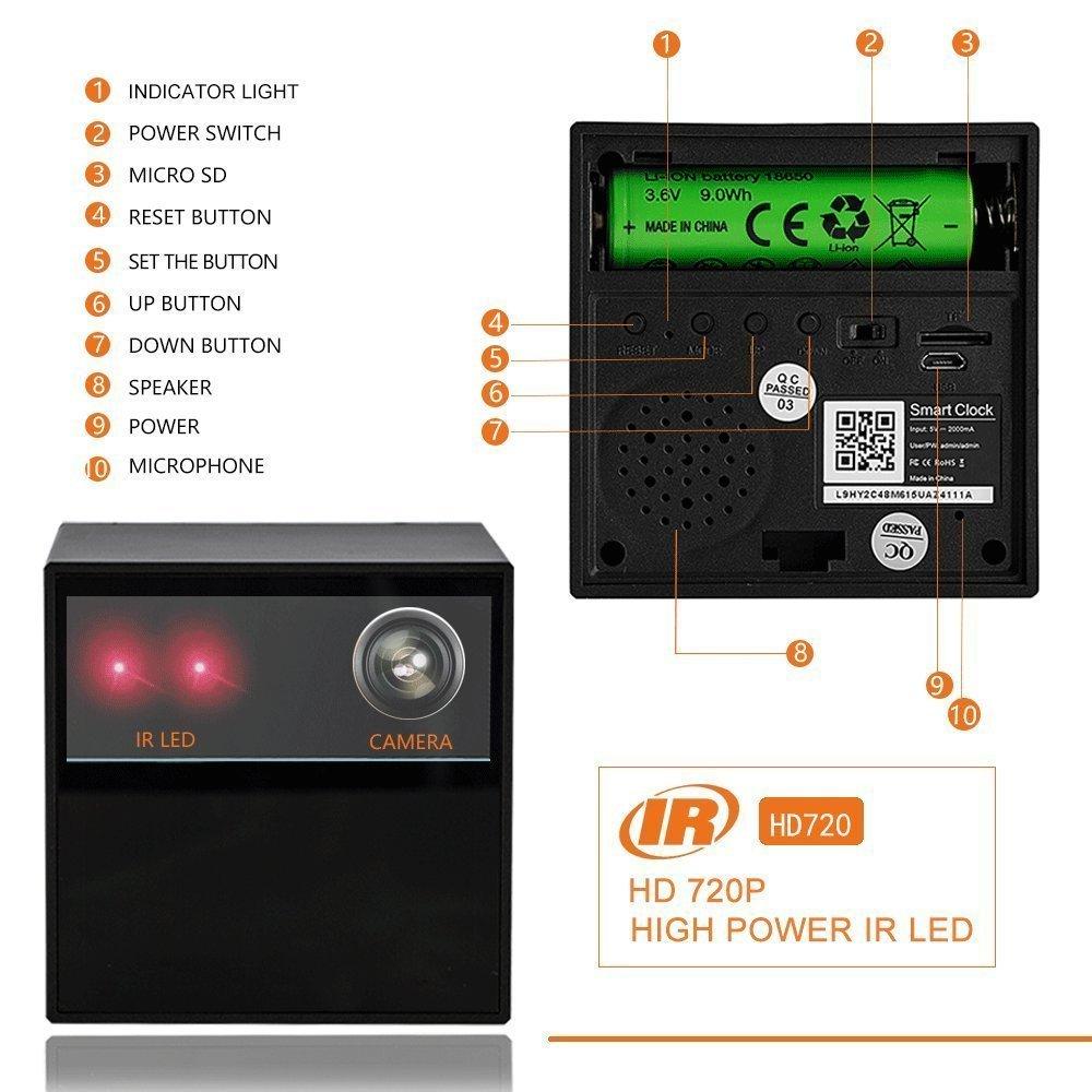 VICTORSTAR @ WiFi Ocultos Cámara de Vigilancia Con Reloj Digital / Cámara de Niñera WiFi + Smartphone APP + Visión Nocturna Mejorada a 8 Metros + Detección ...
