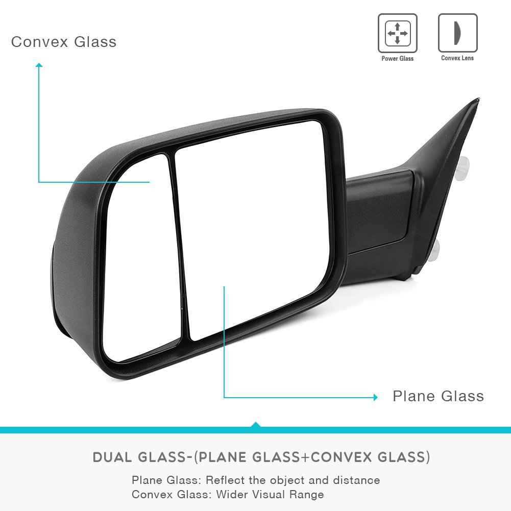 2010-2017 Dodge Ram 2500 3500 for 2009-2017 Dodge Ram 1500 YITAMOTOR Towing Mirrors Compatible for Dodge Ram Manual Flip-Up Folding Tow Mirrors