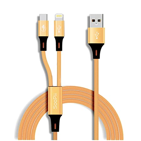 Jabox Nylon Braided 2in1 USB Dual Charging Data Cable for iPhone and Android Cables   Adapters