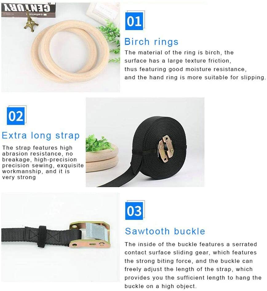 b Non-Slip Unisex Olympic Training Rings for Home Blue-Yan Wooden Gymnastics Rings with Adjustable Straps Sangle de 3,8cm de largeur 28mm Fitness at Home 4.5 m//14.76 Feet Adjustable Strap Maximum Load Capacity 700 kg//1500 Pounds
