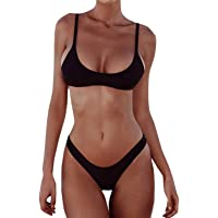 Elonglin Womens 2 Pieces Swimsuits Bikini Set Triangle Cup Paded Bathing Suits
