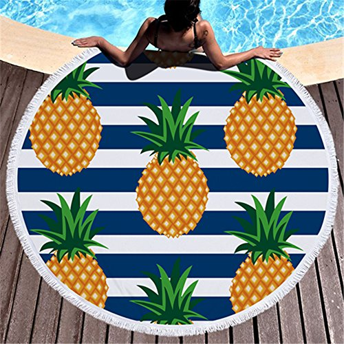 Violet Mist Mandala Tapestry Round Beach Towel Yoga Picnic Mat Roundie Tablecloth Water Absorbent Terry Towel With Tassels (Pineapple)