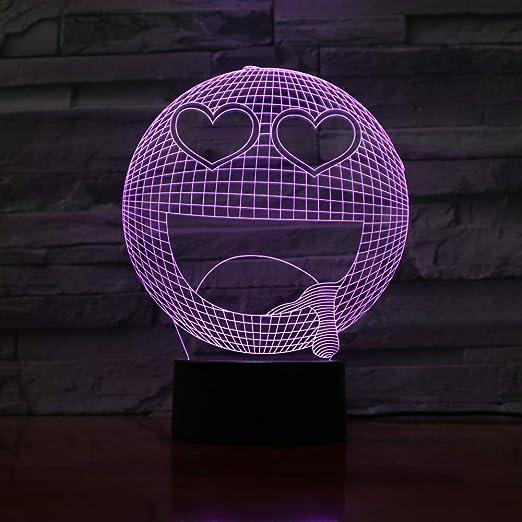 Lampe 3D Led Emoji Smiley Face Veilleuse Table Table de