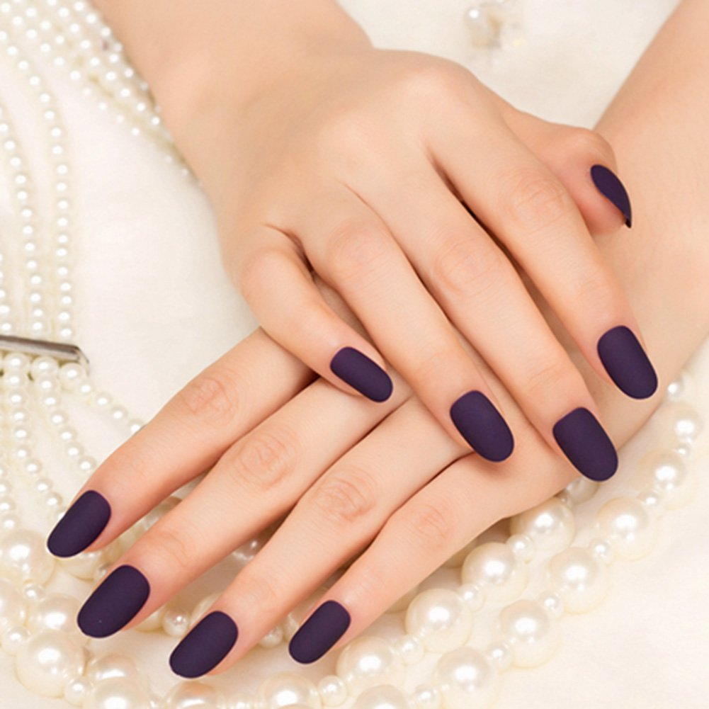 YUNAI 24Pcs False Nails Deep Purple Matte Manicure Patch Small Round ...