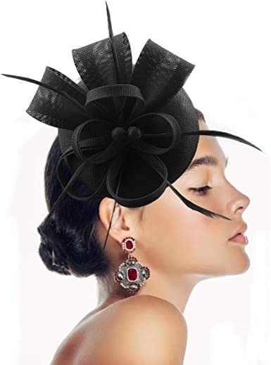 YFWFASH Fascinator Hats Feather Fascinators for Women Homy Pillbox Hat  Headband for Wedding Derby Tea Party Race at Amazon Women's Clothing store
