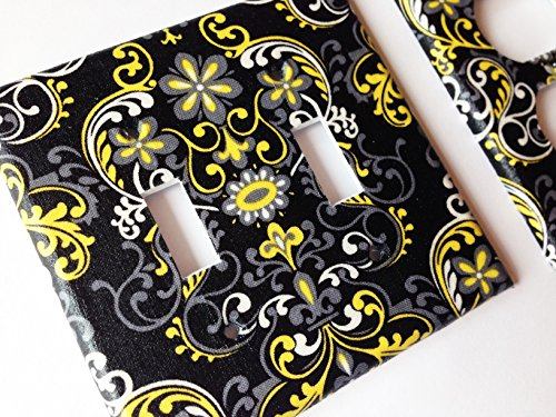 Black Yellow Gray Damask Light Switch Plate Cover -All Sizes Offered