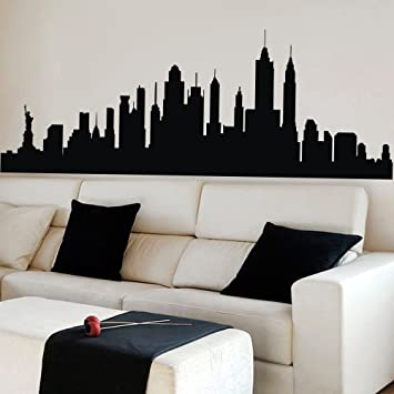 New york city skyline wall sticker vinyl ctiy wall decor new york wall art skyline decal