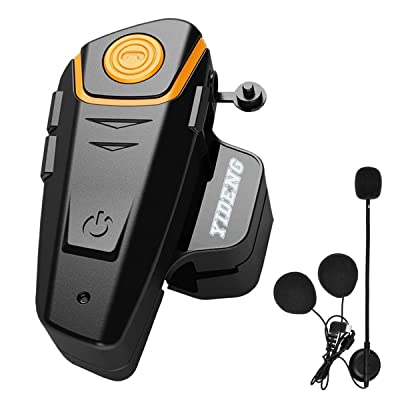 Yideng Bluetooth for Motorcycle Helmet Headset Wireless Intercom Interphone BT-S2 Walkie-Talkie Supports FM Radio GPS Voice Command Music Hands-Free up to 3 Riders Communication in 1000m(Single): Automotive