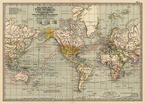 Vintage Map | 1899 The World | Historic Poster Art Reproduction | 33in x 24in