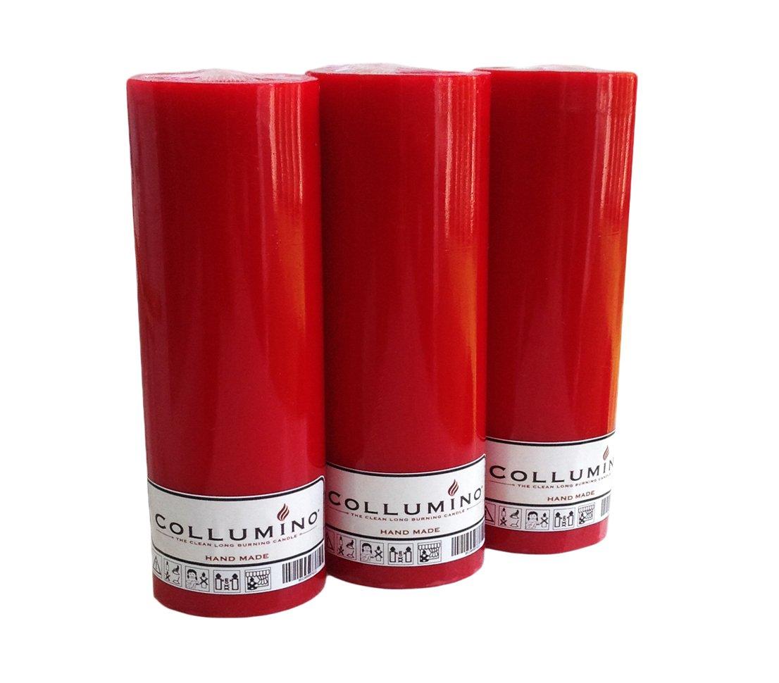 Collumino Lot de 3 bougies de Noë l haute 55 heures Rouge 15 x 5,5 cm, Red, Lot de 2