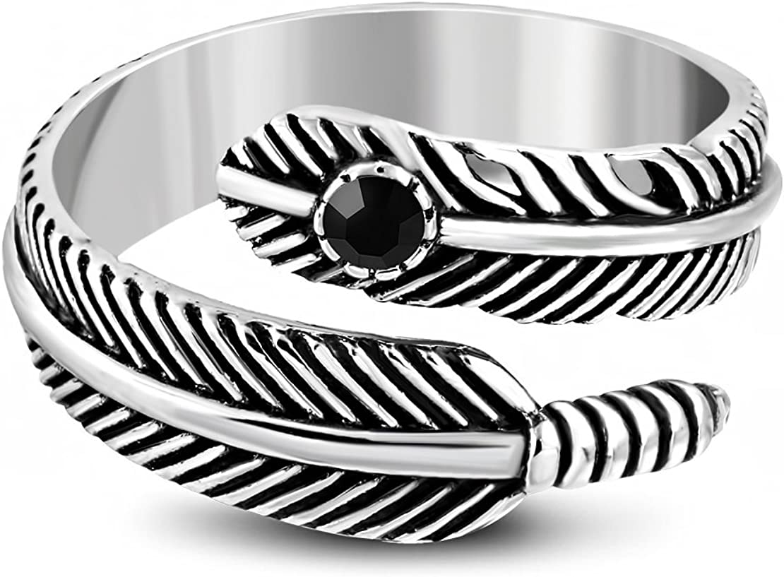 Stainless Steel 2 Color Spiral Bird Feather Biker Ring with Jet Black CZ