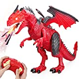 Betheaces Remote Control Dinosaur,Dragon Toy for Kids Boys Girls Red Dragon Figures Learning Realistic Looking Large Size with Roaring Spraying Light Up Eyes for Birthday Xmas Gifts
