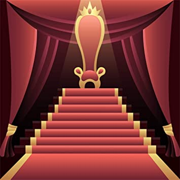 Amazon Com Laeacco 5x5ft Cartoon Red Carpet Stage Backdrop Vinyl Royal Golden Lace Red Carpet Stairway To The Throne With Crown Opened Red Curtain Background Live Show Tv Programming Child Event Activities Shoot