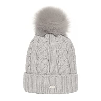 TEFITI Women Cable Knit Beanie Hat Winter Warm Pom Pom Cap Hats (Light Gray) 3fd948b996b