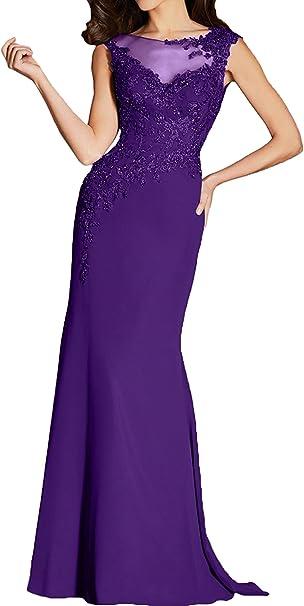 Ivydressing Elegant Grau Neu Meerjungfrau Abendkleider Lang 2017 Applikation Brautmutterkleider Partykleider Chiffon 42 Violett Amazon De Bekleidung