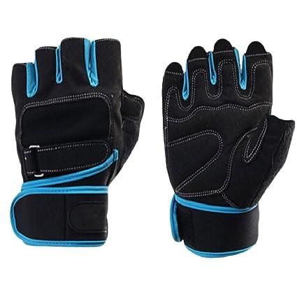 Transpirable microfibra hombres medio dedo deportes de formación levantamiento de pesas gimnasio Fitness guantes muñeca Wrap