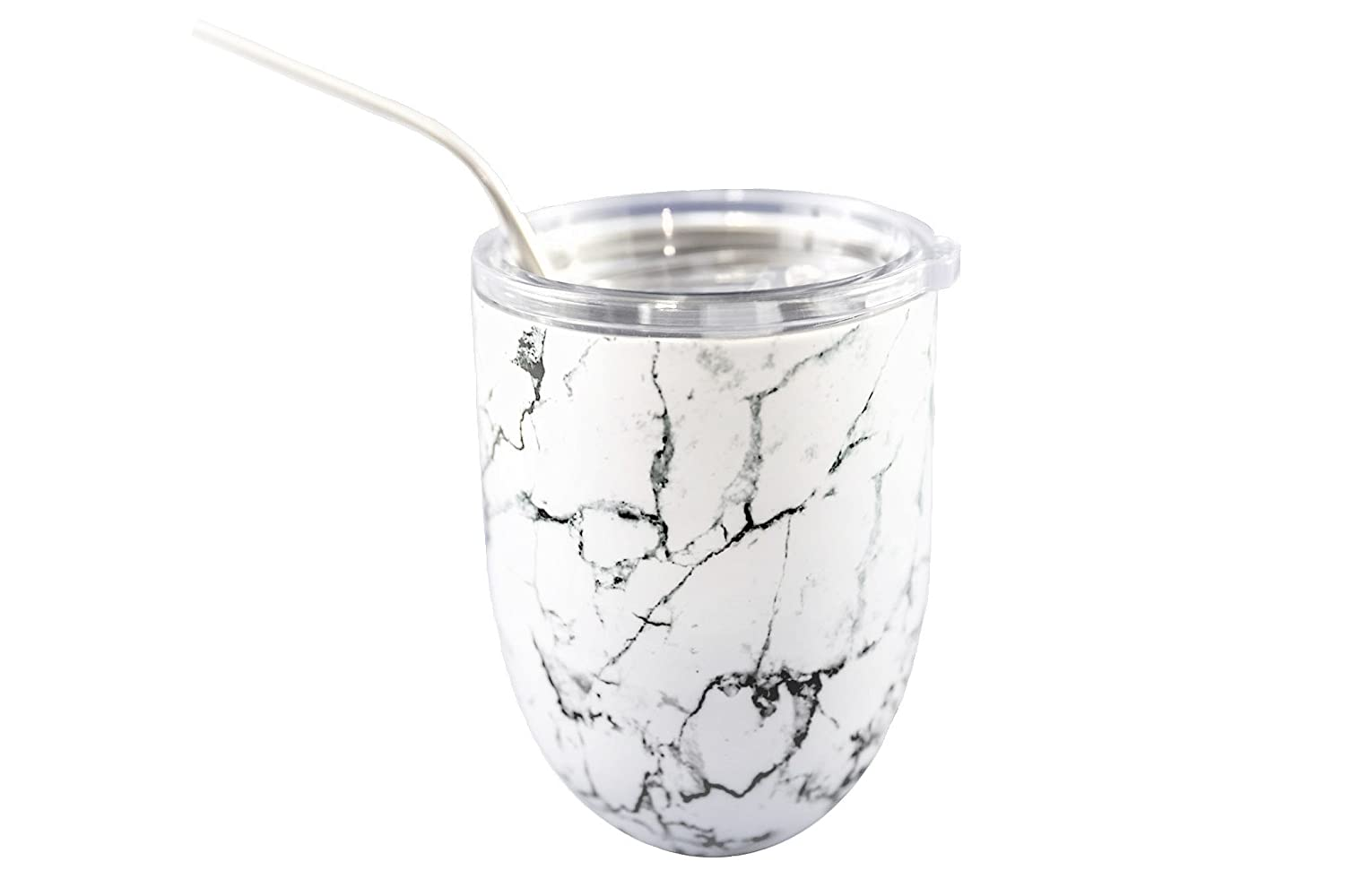 Stainless Steel Stemless Wine Glass Tumbler by Blissful Co Spill-proof slide lock Lid and Stainless Steel Straw White Marble 12 Ounce Double Walled Insulated