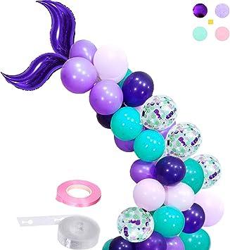 Amazon.com: Guirnalda de globos de sirena para niña ...