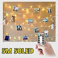 WEARXI Luci Led per Clip Foto - 5M 50 LED Impermeabile 8 Modalità Lucine per Polaroid Led Decorative Interno per Camere, Porta Foto Mollette