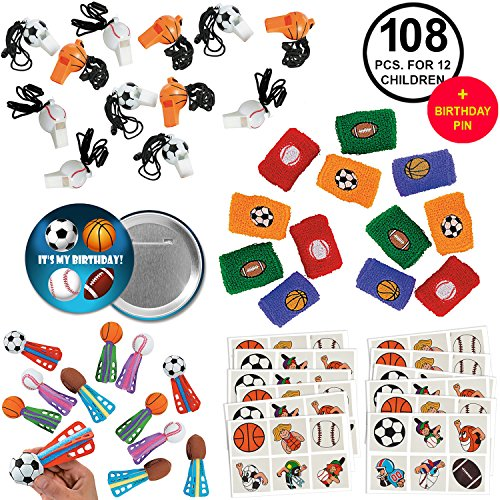 Sports Favors Party Supplies Pack Baseball Basketball Football Soccer for 12 Kids ()