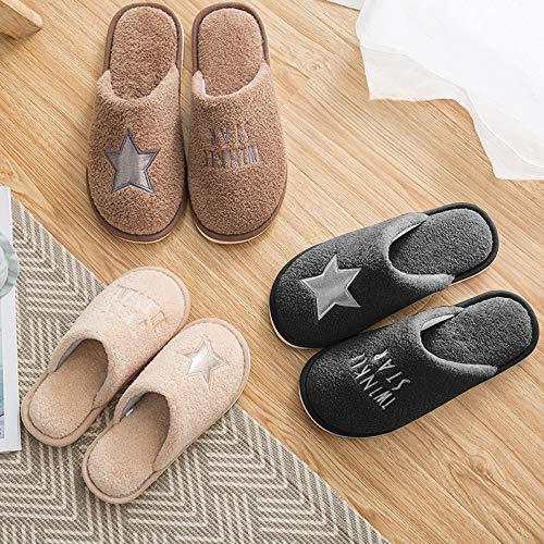 Memory Foam Shoes star Fleece Slipper Men's House Lining MOCOTONO Cute Print Khaki 5SwHx