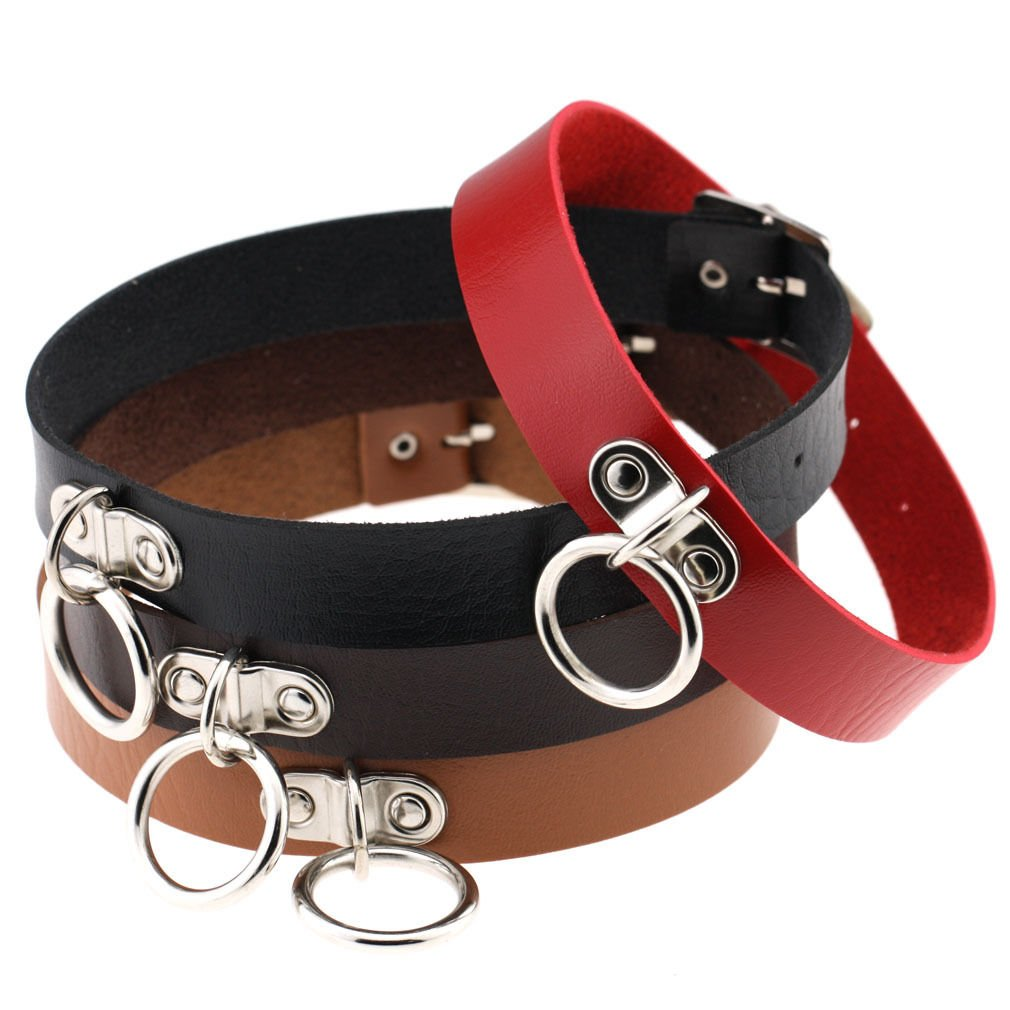 kakurola Classic Collar Punk Necklace Choker Neck Ring Pendant Leather Chain