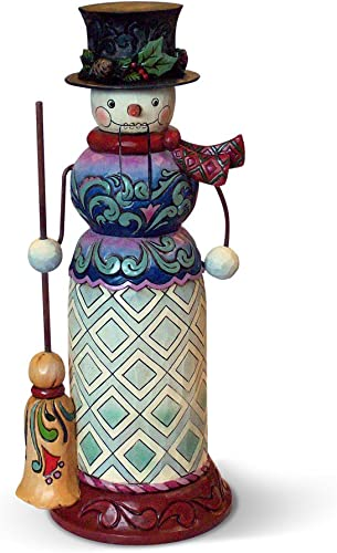 Enesco Jim Shore Heartwood Creek with Broom Nutcracker Snowman Figurine, 10.25-Inch