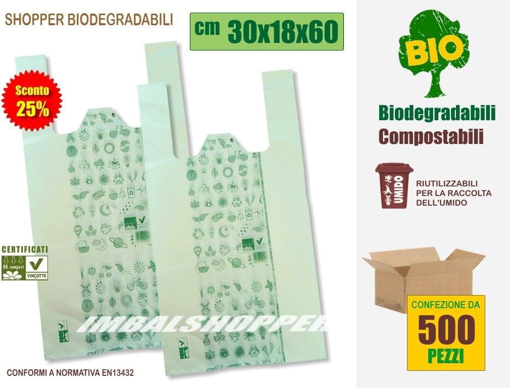 Bolsas de la compra biodegradables y compostables, de 30 x 18 x 60 ...