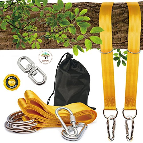 Fantastic Spinner Kit - NEW~ Tree Swing Straps(5FT),2 Sets Heavy Duty Straps with Carabiners +Swivel/Spinner-Holds 2200lbs-Swing & Hammock ropes and hangers to hang Tire,Saucer,Web Swing/Toddler swing-SAFE &EASY Hanging Kit