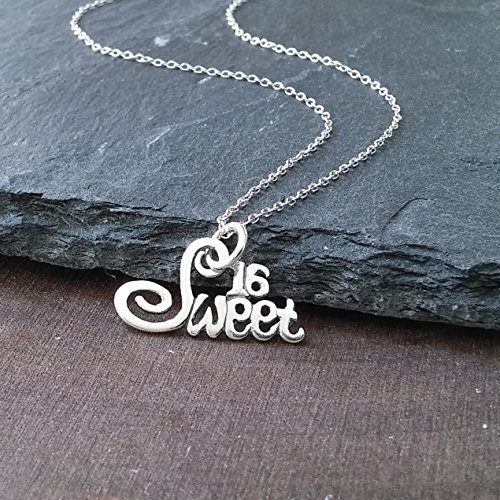 Sterling Silver Sweet 16 Charm Pendant Necklace, 18