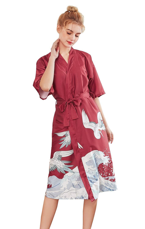 SexyTown Women's Long Kimono Robe Bridesmaid Bridal Shower Womens Gift (X-Small, C-02)