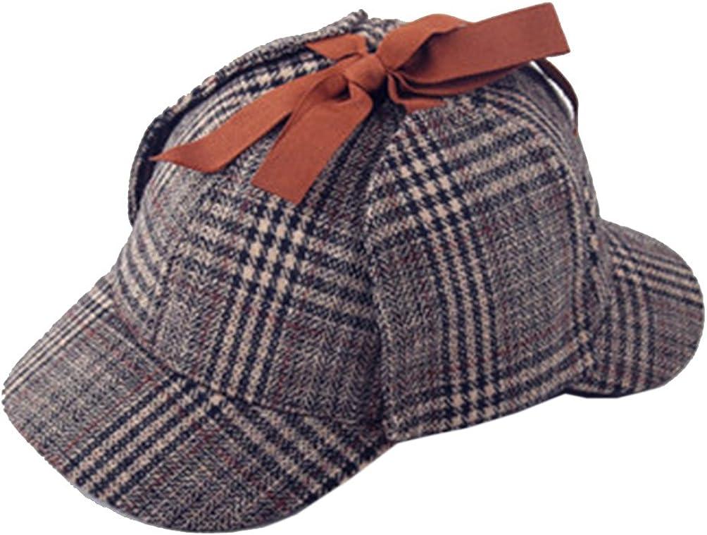 Engerla Sherlock Holmes Detective Hat Unisex Double Brim Hat with Earflap Warmer