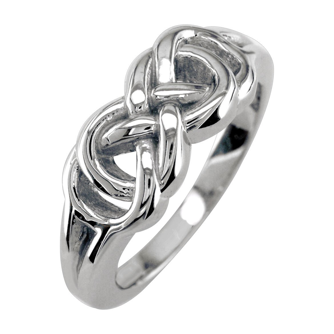 Mens or Womens Double Infinity Ring, 7.5mm in Sterling Silver size 5