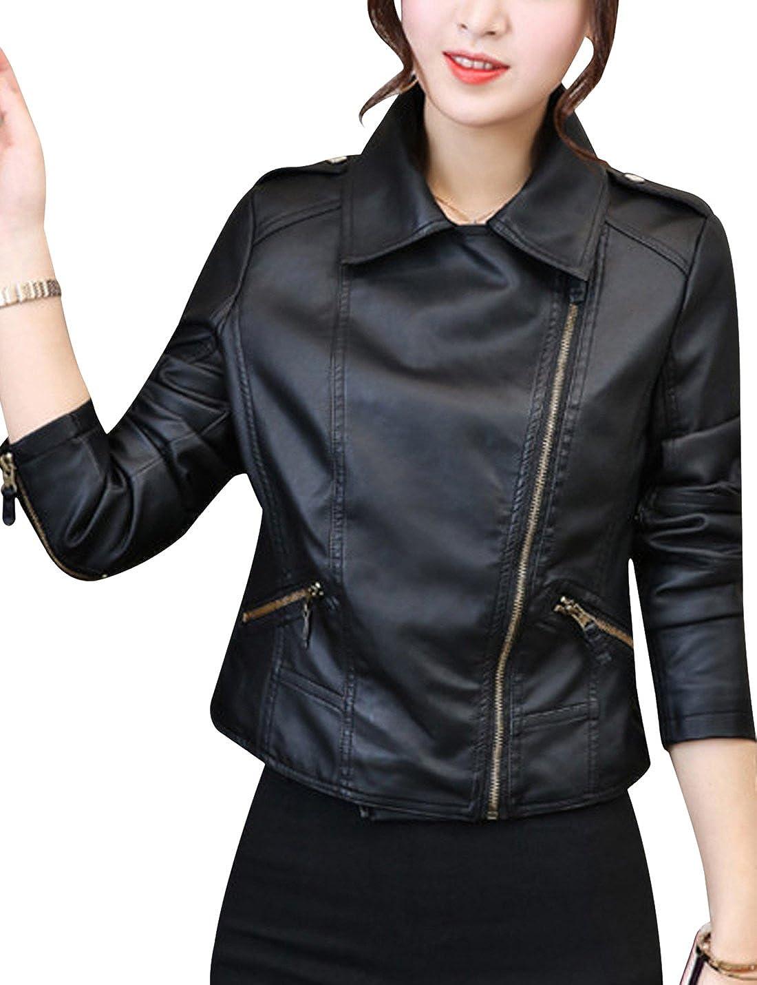 Tanming Womens Notch Lapel Faux Leather PU Jacket