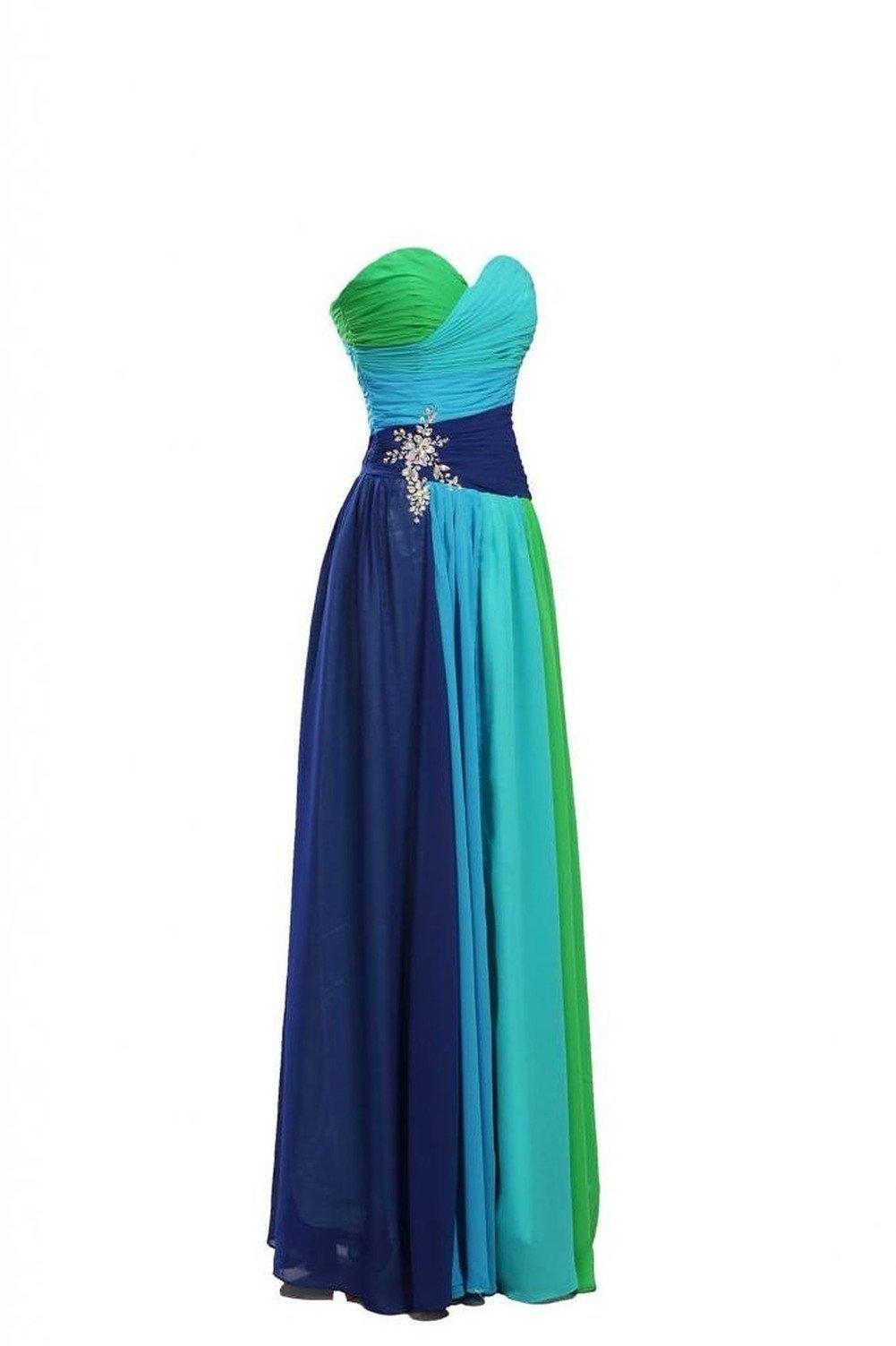 Dormencir Women's Rhinestone Colorful Long Bridesmaid Prom Evening Dresses (12) by Dormencir (Image #3)