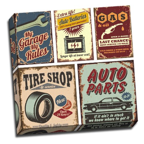 Panther Print Garage Vintage Car Metal Signs Canvas Art Poster