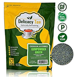 Delicious Premium Grade All Natural Loose Leaf 100% Gunpowder Green Tea, Pure All Natural Detox 'Pearl Tea', Makes 100 Cups of Nutrient Dense Delicious Tea from iCulinary, Zipper Pouch, 8oz