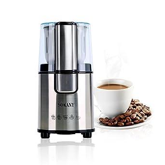 Molinillo de Café Eléctrico, de Acero Inoxidable, Súper Potente 200 vatios, Muele en 20 Segundos, Depósito para 80g de Granos, Color Plata.