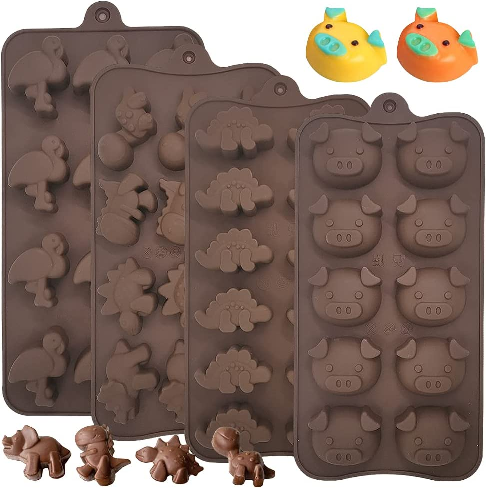 4 Pcs Silicone Molds,Sonku Non-Stick Pig Turtle Bird Dinosaur Molds for Making Chocolate Candy Jelly Ice Cube