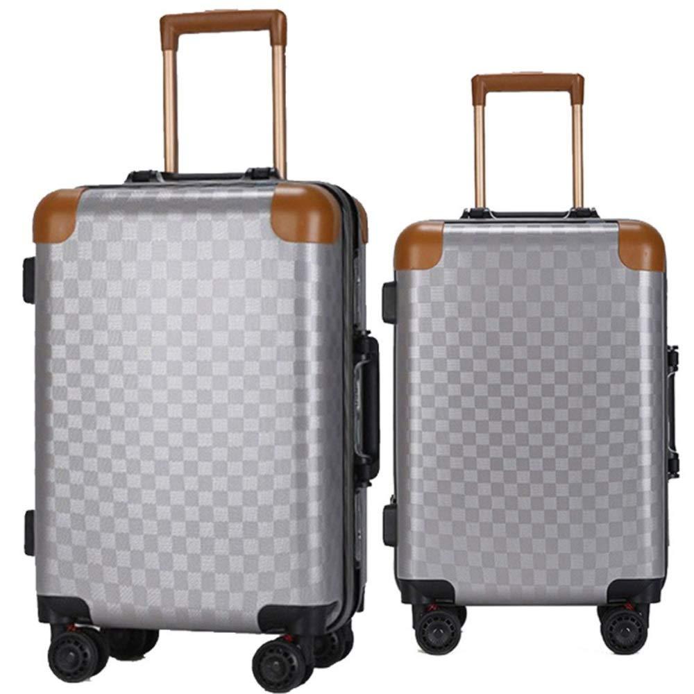 スーツケース ロータリーローディングスーツケースバッグトロリーポータブルキャリーオンコラムサイレントローテーター多方向ホイールフライト搭乗 多機能省スペース機内持ち込みスーツケース (色 : 暗灰色, サイズ : 20in+24in) B07SY7PZ8V 暗灰色 20in+24in
