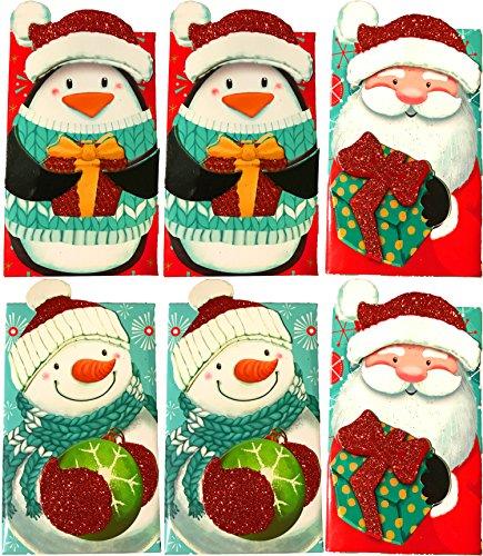 Christmas Holiday Essentials Glitter Gift Card Holders- Santa, Snowman & Penguin (6 Gift Card Holders)