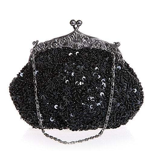 Women Beaded Sequin Design Flower Large Clutch Bag Evening Purse Bag (Black) -