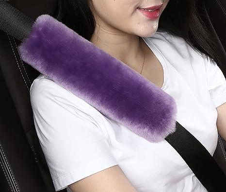 Comfortable Fabric Truck Durable /& Adjustable Pads SUV Premiun Quality 2Pcs Car Seat Belt Cover Soft Seatbelt Shoulder Pads Purple Beige Black for Adults Women Kids Purple Auto