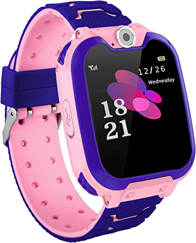 GCARTOUR Kids Waterproof Smart Watch for Girls Boys Students SOS Phone Call Anti-Lost Game Music SIM TF Card Support Pink, Free