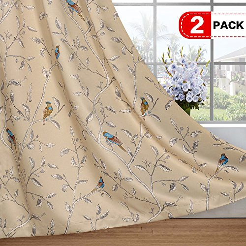 Thermal Insulated Room Darkening Curtains for Living Room Blackout Window Treatment Grommet Panels for Bedroom/Dining Room, Birds Pattern on Taupe Base - 2 Panels - 52 by 63 inch Each Panel (Window Treatments For Living And Dining Rooms)
