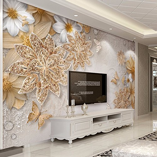 Lwcx Custom Mural Wallpaper For Bedroom Walls 3D Luxury Gold Jewelry Flower Butterfly Background Wall Papers Home Decor Living Room G 400X280CM by LWCX