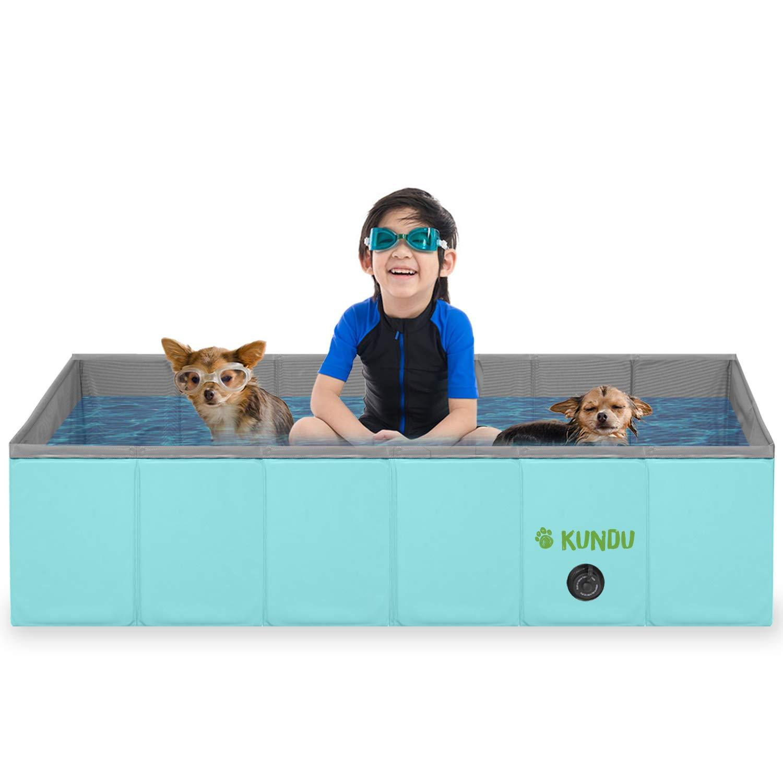 Kundu Rectangular (43'' x 27'' x 12'') Heavy Duty Pets & Kids PVC Outdoor Pool/Bathing Tub - Portable & Foldable - Large by Kundu